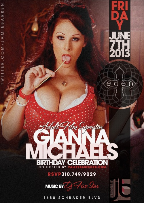 Adult Star Gianna Michaels Birthday at EdenJamie Barren Presents Eden Hollywood Fridays - June 7th 2013celebrates the birthday of adult film…View Post