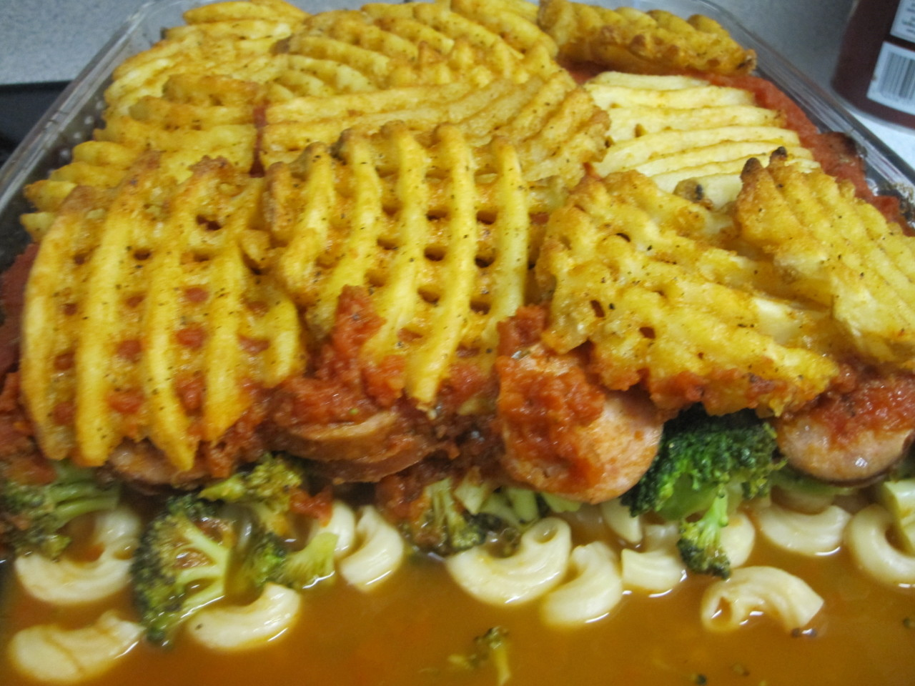 Waffle fry casserole. We do live near a Chick-Fil-A but it was Sunday. Yeah… My husband decided to make this delightful casserole with Kielbasa sausage, broccoli florets, marinara sauce, and macaroni pasta. Topped with seasoned waffle fries. I'm getting hungry just typing this out! It was really really really good!