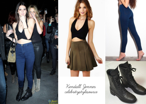 Kendall Jenner wore this outfit to the Rihanna concert earlier this month on April 8th. In this photo, she's wearing a halter top from Nasty Gal, which you can get here for $38.00. She's also sporting the easy jean ($82) from AA. Her bag is Celine and her quilted combat boots are Chanel.  — For a similar look (if the halter from Nasty Gal is out of your size), try the Chelsea top from Brandy Melville ) ($29)