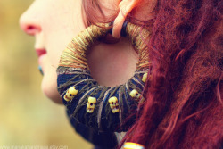 Manaka Handmade Hemp & Skull Manakees for stretched ears….  ✄————————————-——::shop online here::