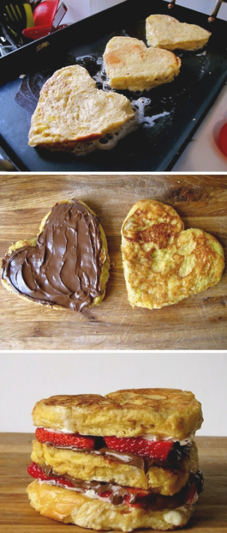 thecakebar:  Strawberry & Nutella Heart Shaped French Toast Tutorial What a lovely, simple treat for Mother's Day day…. just to show how much u care x)