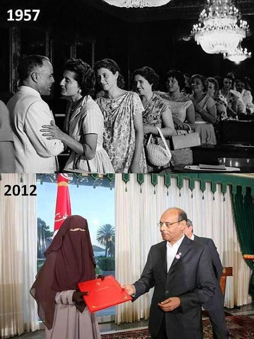 "Arab Spring progress! Tunisia is doing great, especially when it comes to Women rights, emancipation and freedom, when you compare 1957 (above Tunisian women, meeting the founder of modern republic Tunisia and 1st President Habib Bourguiba) and today below (Tunisian ""woman"" dressed as Harry Potter's Dementor), meeting a monkey (the current puppet ""President""). ~ ¡Viva la Revolución!"