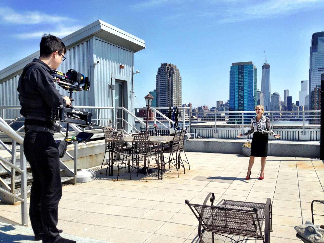 The view from a $2 million  penthouse in Jersey City that we shot a real estate promotion video for today