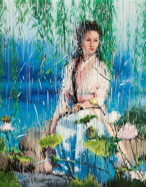 Liu Baomin Rising star Liu Baomin pushes traditional Chinese Contemporary Realism to new boundaries in his oeuvre. He applies oil paint to canvas in single brush strokes to create the illusion that this narrative is being viewed through rain or a faceted looking-glass. Pictured is Liu's Extreme Illusion: Lady of the Stage (2011).