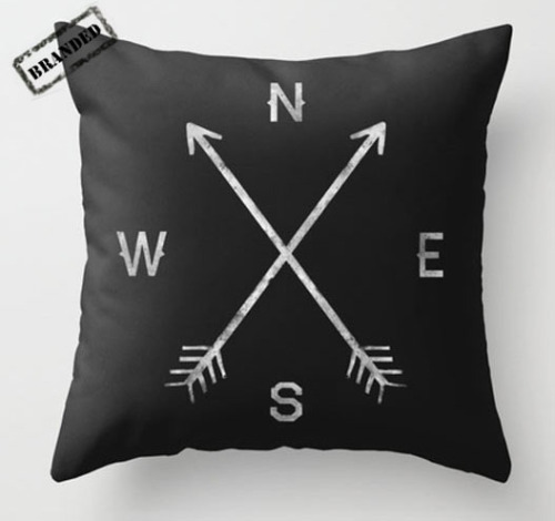 thebrandedgirl:  This Compass throw pillow by Zach Terrell probably won't help my abysmal sense of direction, but at least if I lay my head on it long enough I can say I've absolutely tried everything. buy.