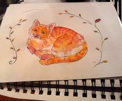"Original watercolor orange tabby cat painting for sale on etsy. 8.5x5.5"". Paper is 60lbs, acid-free."