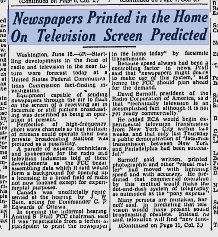 washingtonpoststyle:  A Jan. 1936 news item. (No mention of how newspapers make huge amounts of money through these screens.) Via T.J. Ortenzi via Phil Rosenthal  Thank god for Google News archives. Here's a link to The Montreal Gazette's front page, where this appeared.