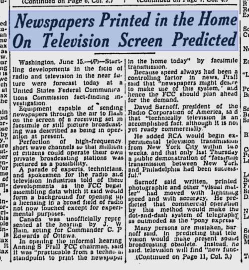 shortformblog:  washingtonpoststyle:  A Jan. 1936 news item. (No mention of how newspapers make huge amounts of money through these screens.) Via T.J. Ortenzi via Phil Rosenthal  Ahead of its time by about six decades.  Future.