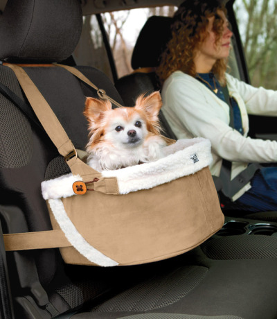 This car booster seat provides protection, comfort and style for your toy dog.