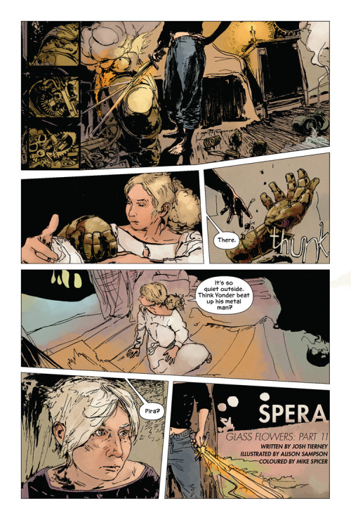 The latest chapter of Spera: Glass Flowers is now up on Spera-Comic.com! Part 11 is drawn by Alison Sampson and coloured by Mike Spicer, and reveals just how dangerous this island can be. Click the page above for the full comic. (By the way, Archaia's Spera: Vol. 2 will be available in comic stores on the 27th next week!)