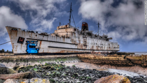 Abandoned luxury liner as graffiti canvas: Duke of Lancaster. More at CNN.