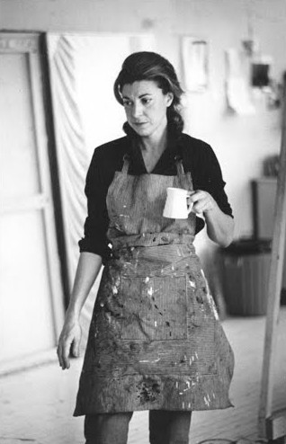 apoetreflects:  Photograph of Helen Frankenthaler, 1969 divingintotheclay:  This is what I like: someone is clearly standing in front of Frankenthaler with a camera, and yet I don't see her caught up in that.  What I see is the depth of how occupied she is.  This is one of the chief gifts of artistic pursuits, that delicious grave quality of engagement that lifts us up out of ourselves and into the work.