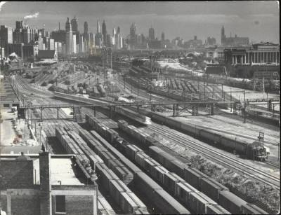 Looking north from 18th Street (Soldier Field to the east), 1954, Chicago.