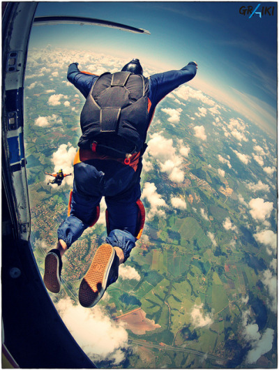 tmshaffer:  Skydive Student exit by mauricio graiki on Flickr.