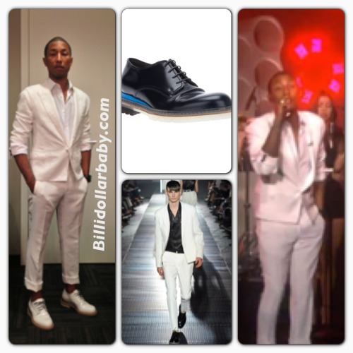 billidollarbaby:  Pharrell performs on The Ellen DeGeneres Show wearing Lanvin Pharrell Williams took the stage on The Ellen DeGeneres Show with Robin Thicke last week.  He wore an all white Lanvin suit from the Spring 2013 Collection and matching derby's ($990).    Watch the duo perform Blurred Lines: