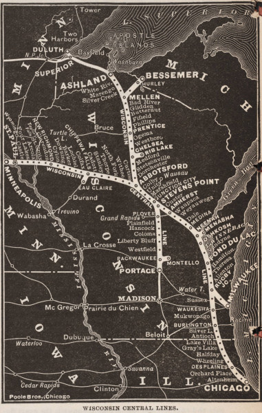 ictidomys:  Wisconsin Central Lines. Railway Age Publishing Company, Chicago, 1887. Image Credit: Linda Hall Library of Science, Engineering & Technology.