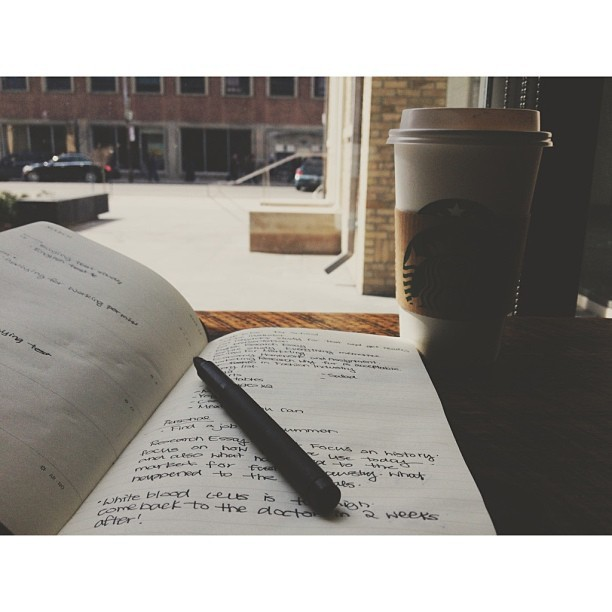 ryang0893:  Sunday afternoon. #starbucks #moleskin #blackpen #pen #writing #planner #planner #love #sunday #single #me  (at Starbucks)