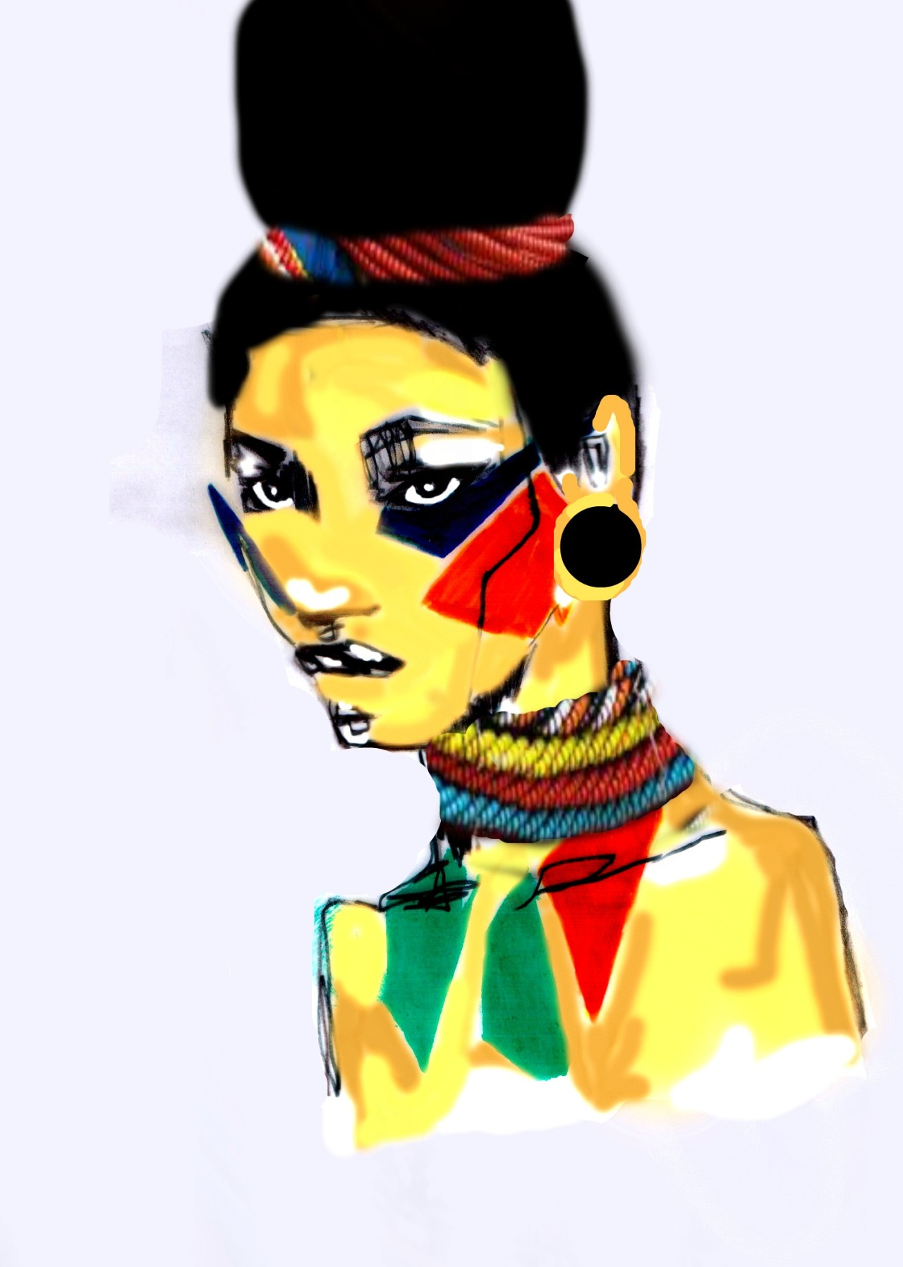 Colour x Black/White illustration  African Woman , By Tanya Marowa