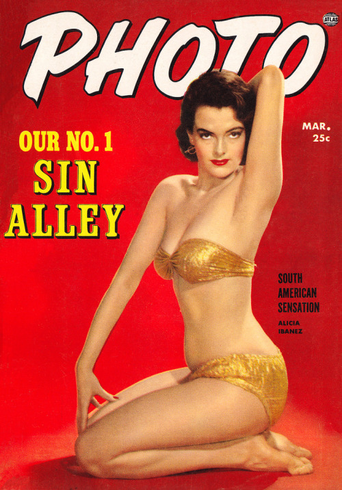 Sin alley (by PopKulture)  Photo - March 1954 issue.  Cover model Alicia Ibanez.