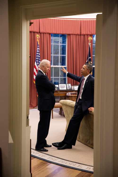 team-joebama:  very often when you see a picture of the President and Vice President together, it looks like Biden is telling some story and Obama is politely humoring him but not-secretly bored this may be the first time I've seen the reverse