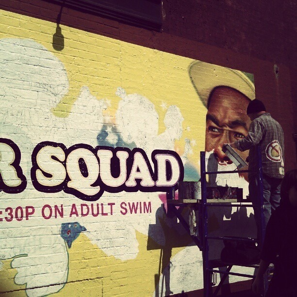 Loiter Squad Ad painting in Brooklyn, March 2012