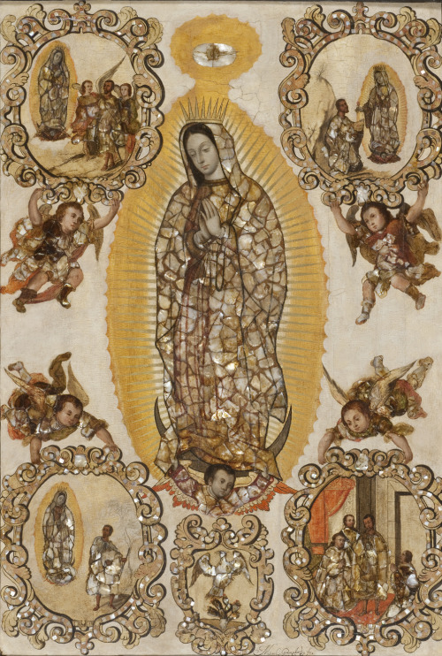 An image of Our Lady of Guadalupe by Miguel Gonzalez, made in 1698 out of mother of pearl pieces.