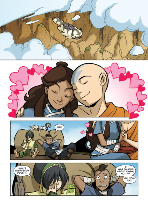 I know this is from forever ago, but Kataang is ridiculously cute. It gives me all the good feels (unlike Sokka). Also Toph is pretty awesome in the rest of this comic. More of the first uploaded pages can be found here.