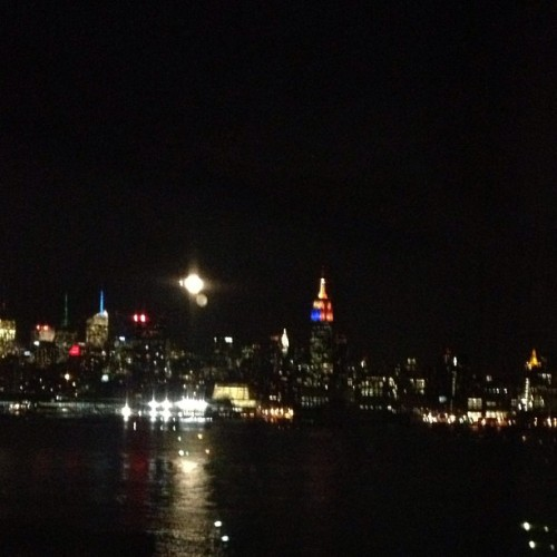 Moon over the city #nofilter #nyc
