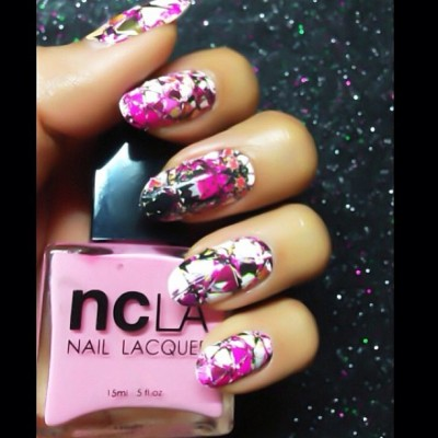 "So fun!  @karengnails using @shopncla ""Reflect Yourself"" #nails #nailwraps @nailinghwood #nailinghollywood"