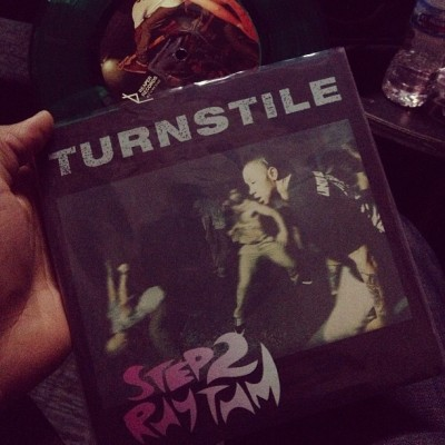 Great to see my brother @freakyfranz he bessed me with the @turnstilehc 45 so dope! Proud
