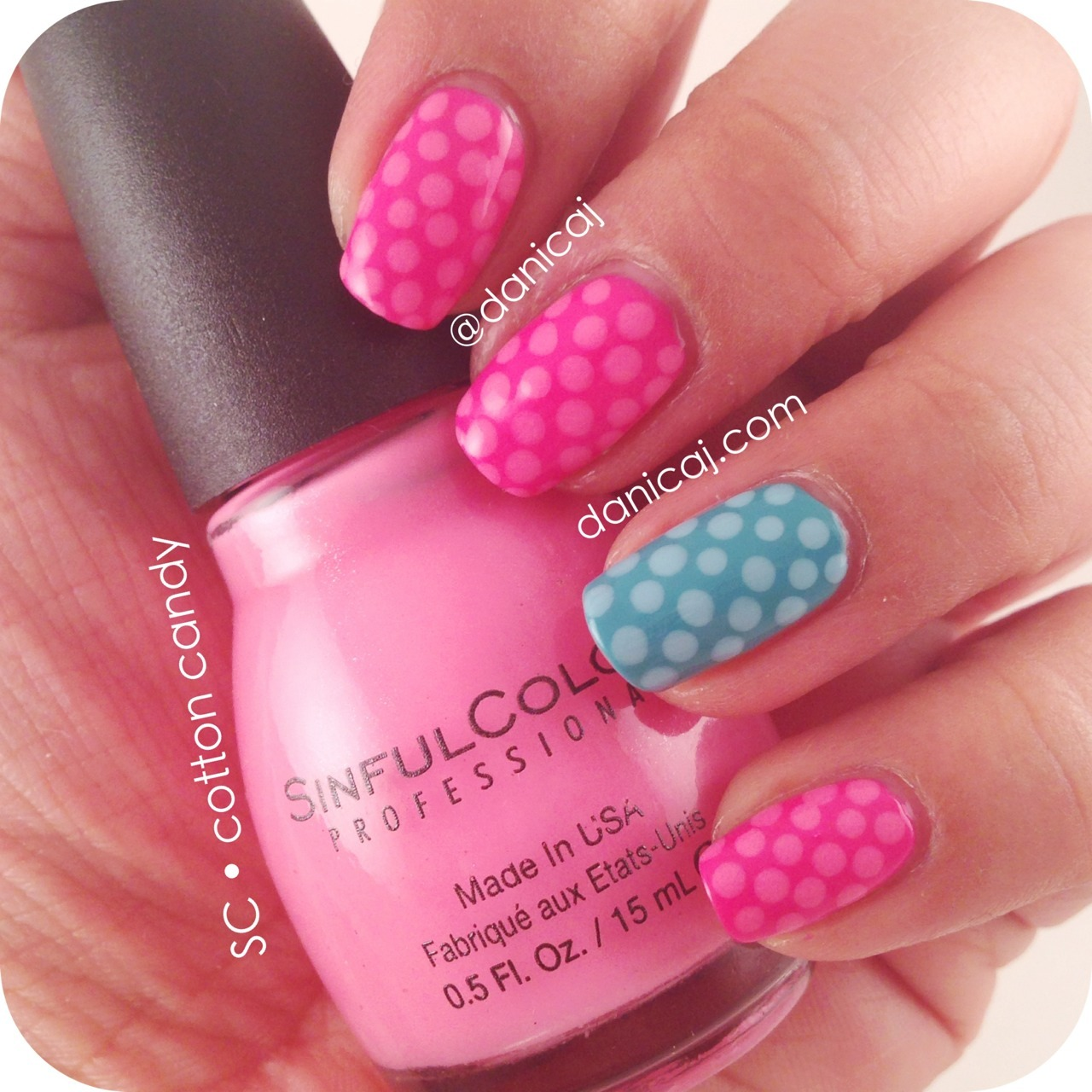 Sinful Colors' Candy Rush collection is fan-freakin-tastic! Super simple polka dots are a quick and easy fix for one-polish manis!