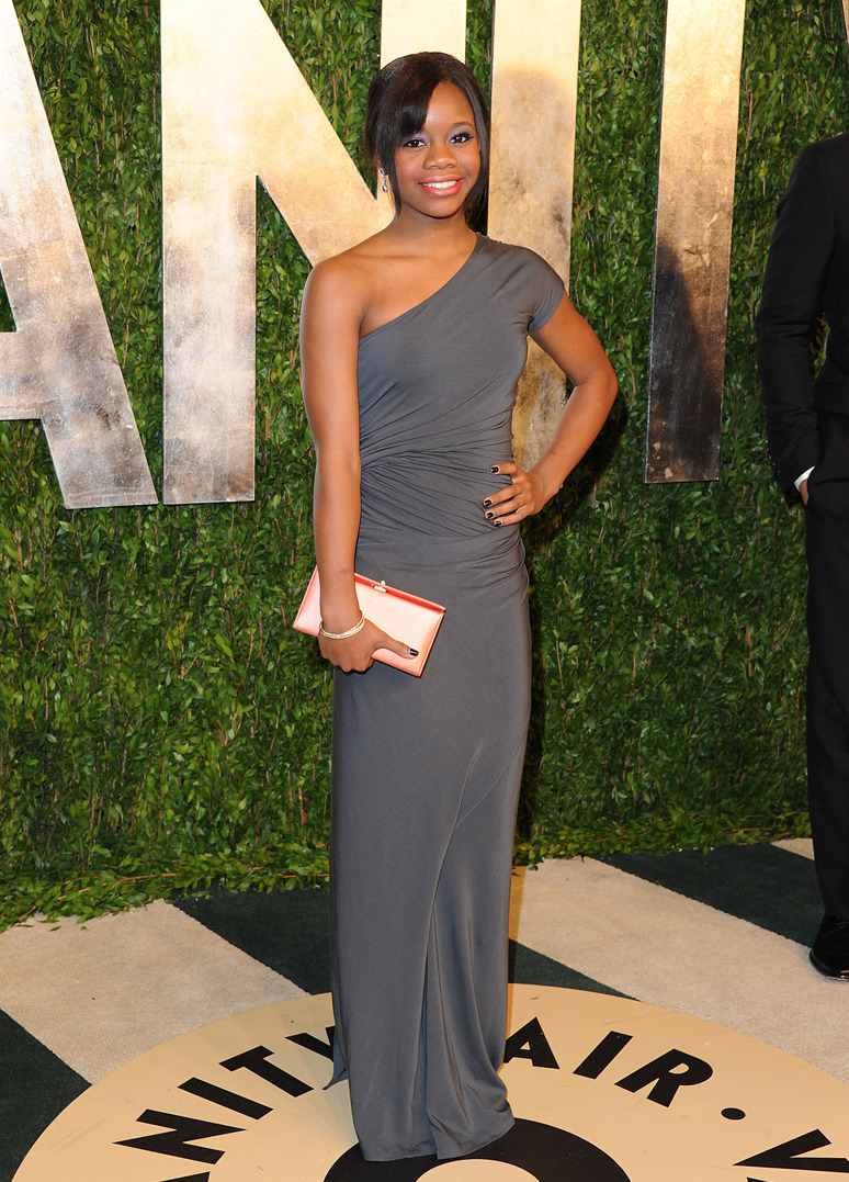 GABBY DOUGLAS Gabby Douglas wore Donna Karan Resort 2013 to the 2013 Vanity Fair Oscar party at Sunset Tower on February 24, 2013 in West Hollywood, California. Credit: Jon Kopaloff/FilmMagic