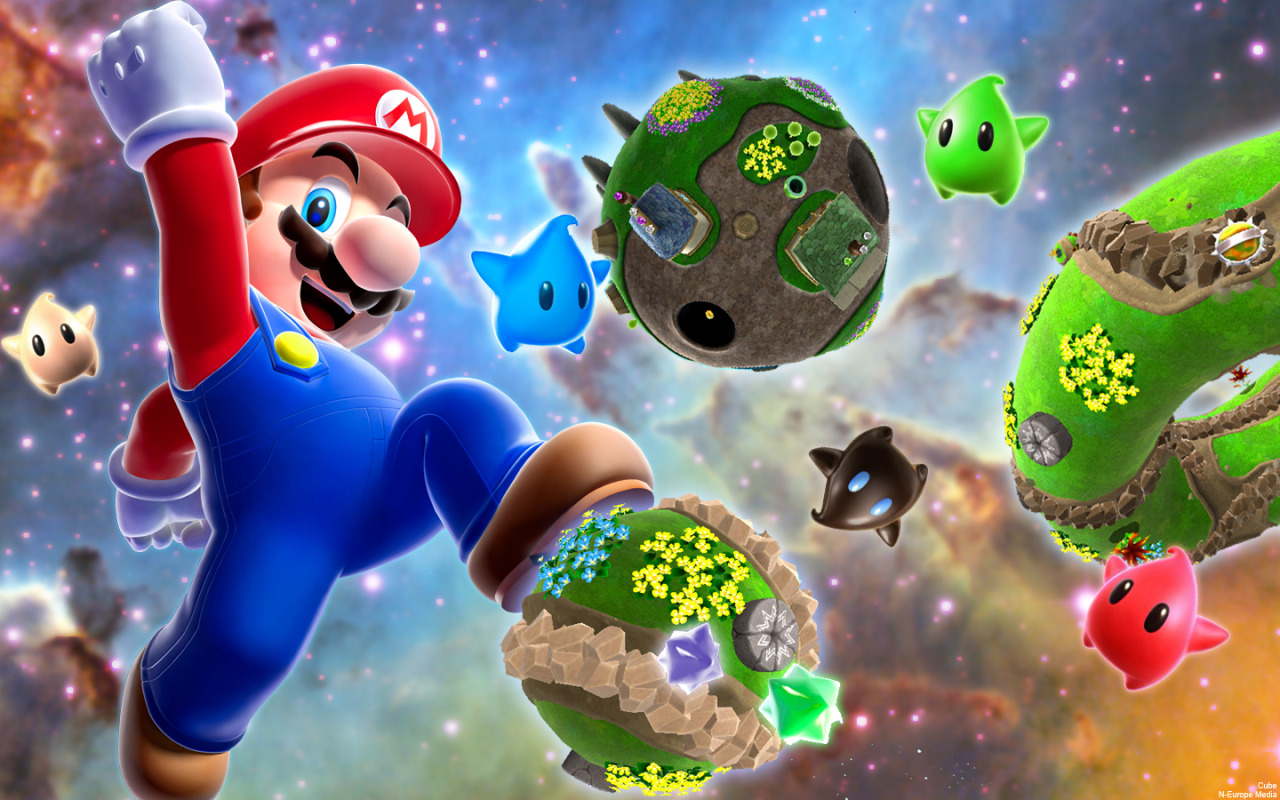 Mario Galaxy Jump Wallpaper by ~DJcube