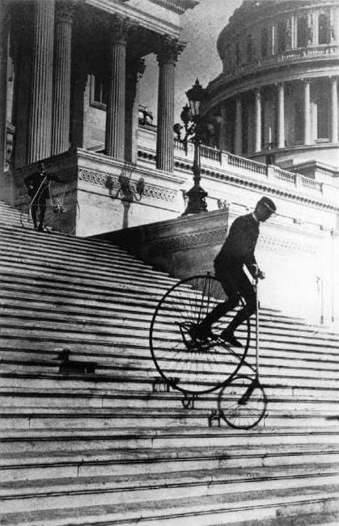 elevenacres:   Riding a Bicycle Down The Steps of The United States Capitol in 1885