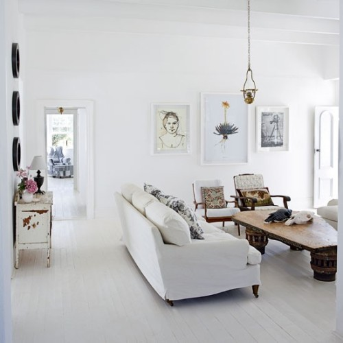 Source: House to Home I Love love love this! Ok so I know it's all white but it's just so cool! Perfectly country collected!