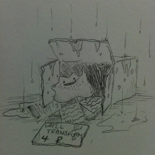 All Ditto has is moldy cardboard box and wet newspaper. But Ditto is happy.-Hobo Ditto
