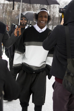 nostalgia94:  howtotalktogirlsatparties:  A$AP Rocky at Paris Fashion Week.