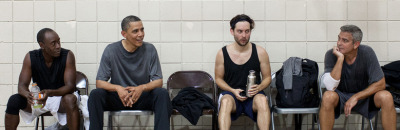 What's this? Oh, it's just President Obama taking a break from a pick-up basketball game with War Machine, Spider-Man and Batman. No big.