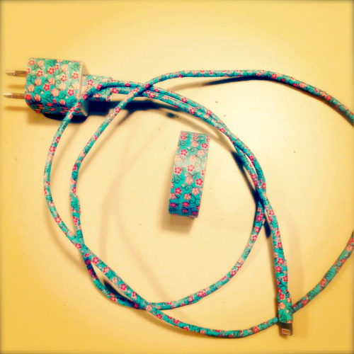 Just made my phone charger super cute by covering it with Washi Tape!