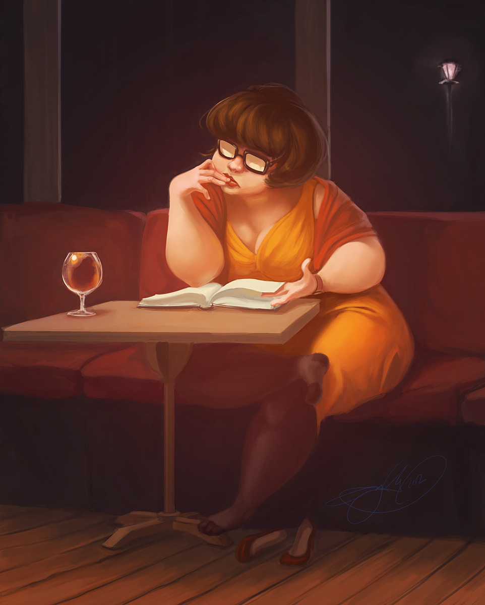 "deviantart:  Abandoned Velma by *nebriniel creamcheesed:        julounge:   Abandoned Velma by ~nebriniel Please leave the credit and links to the artist.   Description: ""I've seen numerous fanarts of Velma, depicting her as some über curvy and sexy and geeky fantasy material… and for some reason, I wanted to draw the opposite - a tubby Velma, an out of shape Velma, a having-finished-with-the-mystery-squad-letting-herself-go Velma… I mean, that happens, right? People get done with what they think are their glory days and kind of just… exist instead of living.So here we have Velma that's been stood up on a date. I picture this being her first date with that particular guy, but not the first time she's been abandoned like that.Instead of distress, I wanted to show her as being used to this sort of thing by now - she's gotten into a habit of bringing a book along with her, even. I would say she never held out much hope for succeeding with the date tonight, but, nevertheless, tried to make herself look nice. She's not grieving much, as her outlook on the whole situation is rather removed and philosophical after so many failures."