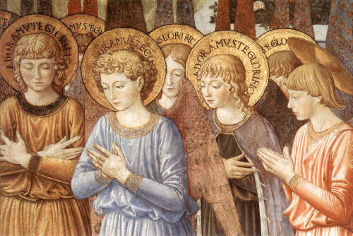 malebeautyinart:  Angels in Adoration, detail from Chapel of the Magi, Florence, by Benozzo Gozzoli, 15th century