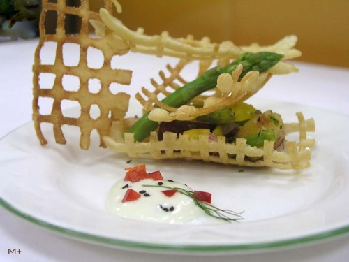 Vegetables and Fruits on Crisp Boat Serve with wasabi mayonnaise……! Tasty..!