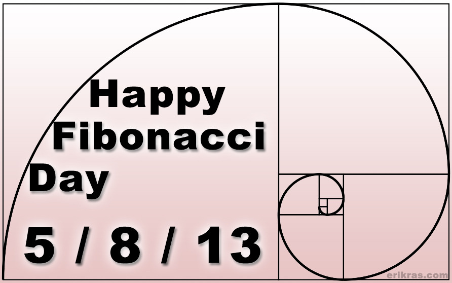 haughtyspirit:  erikrasmussen:  Happy Fibonacci Day, everybody! It won't happen again for 3019 days!   An approximation of the golden spiral created by drawing circular arcs connecting the opposite corners of squares in the Fibonacci tiling; this one uses squares of sizes 1, 1, 2, 3, 5, 8, 13. By definition, the first two numbers in the Fibonacci sequence are 0 and 1, and each subsequent number is the sum of the previous two.