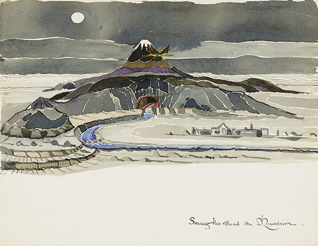 "Smaug Flies Round the Mountain — An Illustration by J.R.R. Tolkien. I managed to get through Peter Jackson's The Hobbit, and thought that the 48 FPS was pretty good, the New Zealand countryside was beautiful and the visual effects were amazing. It just sucked that it never felt like any of the characters were ever in any danger. Have you heard the news that they're splitting the third film into two more parts!! Just joking. But it's not out of the realm of possibility. Even Tolkien's son Christopher who is 88 just came out trashing the film saying:   ""Tolkien has become a monster, devoured by his own popularity and absorbed into the absurdity of our time. The chasm between the beauty and seriousness of the work, and what it has become, has overwhelmed me. The commercialization has reduced the aesthetic and philosophical impact of the creation to nothing. There is only one solution for me: to turn my head away.""   No word on how grumpy this 88 year old guy is. Read this little essay, it's pretty funny.    An Unexpected Screening Format DecisionBy Martin Azevedo ""Two tickets to The Hobbit, please."" ""Which version would you like to see?"" ""Which version? What do you mean?"" ""At 1:30 it screens in theater seven in 3D with THX sound. At 1:55 it screens in theater one in 48-frames-per-second IMAX 3D with 16 Channel Dolby sound and seat-quake technology, for a special fifteen-dollar admission. At 2:20, it screens in theater twelve in conventional 2D digital projection."" ""What are most people saying about the different versions?"" ""Our cinema satisfaction surveys report that they're long and confusing, with iffy narrative logic and unnecessary backstory."" ""Which version would you recommend?"" ""I'd wait for the 4:15 screening in theater fifteen, presented in 2D Action Focus format. It has a running time of 70 minutes with no dwarf songs, Silmarillion flashbacks or long nights of dramatic hesitation experienced in real time."" ""I was hoping to get started by three o'clock."" ""Would 3:05 work? In theater eight, we'll start the Extended Journey Final Cut version in Hi-Res Digital Cinemascape. It expands each of the epic battle scenes by showing their impact on minor characters who had to stay home."" ""Does Hi-Res Digital Cinemascape require special glasses?"" ""They're optional with the audio guidebook headset package."" ""Will my car be okay through the expanded version? I'm in the downstairs garage."" ""I'm afraid your validated parking would expire during the battle of Azgarroth."" ""I guess that would be okay."" ""There's also the Enchanted Express version at 3:15 in theater five. It runs ninety-seven minutes, with eight scenes of playful dwarf banter replaced by an extended visit with Tom Bombadil and two dozen enhanced CGI rodents."" ""Which version has more Gandalf?"" ""You like Gandalf?"" ""Yeah—I'd pay to watch Ian McKellen read the phone book."" ""Excellent. The Shire Directory Special Edition screens once at 3:30 in theater six with premium lounge seating. Online sales only, though."" ""Have you got anything that runs two hours or less, balances character with action into a compelling fantasy narrative, costs eight to twelve dollars, can be seen with the naked eye, won't trigger my epilepsy, and starts before three o'clock?"" ""2:45, theater nine. Swallow this capsule thirty minutes before show time."" ""I've got my ten-year-old nephew with me."" ""Oh—my mistake! With your nephew, you'll want the Frodo Family Edition, playing at 1:45 in theater three. It runs 110 minutes, features two extra dwarf songs, and introduces six animated talking animal characters. Also, CGI safety rails have been added to the treacherous cliff passages. And Gandalf's pipe blows bubbles."" ""He might like that. Is there a place we can get a drink and discuss our options?"" ""Classic, diet, low-sodium, and colon-friendly refreshments are available to ticket holders on level 2, up the stairs. You may also wish to visit Dr. Gluten's Kosher Java or our Fair-Trade Agave Microbrewery, both in our front lobby."" ""Coffee sounds good. Do you know if they can do something milk-free?"" ""Certainly—just take this clipboard and fill out these forms. The barista will call you.""    A final note on The Hobbit, if you've got some spare time you should check out this 1985 Russian TV version. It's got english subtitles created by some unknown comic genius. Bilblo sports a pink polo and is a pot head."
