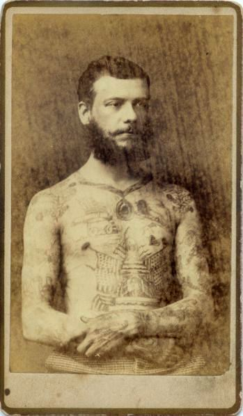 ca. 1870-80's, [carte de visite portrait of a bare chested, bearded, and tattooed man], Charles Eisenmann via  Syracuse University Library, Special Collections Research Center, Ronald G. Becker Collection of Charles Eisenmann Photographs