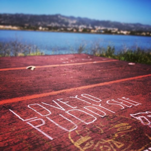Love yo puddy self! #tableart #berkeley #water #picnictable #love #grafitti #puddy