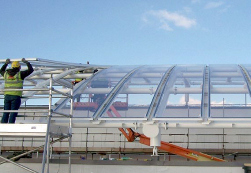 ETFE foil membrane (clear) panels. This revolutionary material replaces glass and is lightweight, affordable and offers the same benefits.