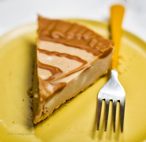 veganfoody:  Easy Triple Peanut Butter Swirl Cheesecake