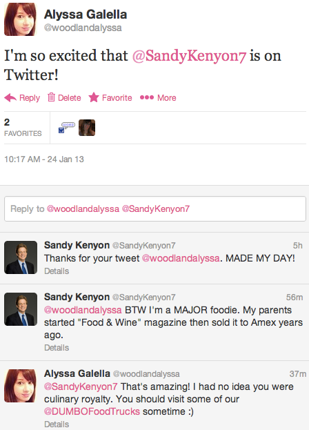 Sandy Kenyon and I are Twitter BFFs now, FYI.