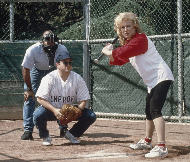 Bette Midler takes an at bat during one of the more memorable episodes of Seinfeld. Fifteen years ago today, the famous sitcom about nothing aired its final episode. (Getty Images) GALLERY: Seinfeld and Sports